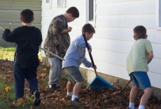Kids doing a work project